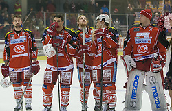 "2.3.2014, Stadthalle, Klagenfurt, AUT, EBEL, KAC vs HC TWK Innsbruck ""Die Haie"", 78. Runde, im Bild Paul Schellander (Kac, #15)<br /> , Florian Iberer (Kac, #48), Markus Pirman (KAC, #44), David Schuller (Kac, #45), Andy Chiodo (Kac, #31) // during the Erste Bank Icehockey League 78th round match betweeen EC KAC and HC TWK Innsbruck ""Die Haie"" at the City Hall, Klagenfurt, Austria on 2014/03/02. EXPA Pictures © 2014, PhotoCredit: EXPA/ Gert Steinthaler"