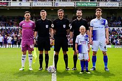 Ian Henderson of Rochdale, match officials, Tom Lockyer of Bristol Rovers and mascot - Mandatory by-line: Ryan Hiscott/JMP - 22/04/2019 - FOOTBALL - Memorial Stadium - Bristol, England - Bristol Rovers v Rochdale - Sky Bet League One