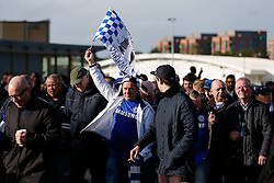 A Chelsea fan flies a flag outside the stadium - Photo mandatory by-line: Rogan Thomson/JMP - 07966 386802 - 01/03/2015 - SPORT - FOOTBALL - London, England - Wembley Stadium - Chelsea v Tottenham Hotspur - Capital One Cup Final.