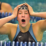 Kelsey Leeson  of Juan Diego Catholic High School can't believe she finished in first place in the 100 yard Freestyle event in the 3A Swimming Championships on the BYU campus in Provo, Utah, Saturday, Feb. 6, 2010. August Miller, Deseret News .