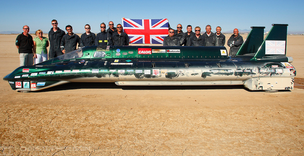The British Steam Car Team on Rogers Dry Lake at Edwards Air Force Base in the Mojave Desert, California, USA where they are attempting to break the 103 year old land speed record. Englishman Fred Marriott set the current record of 127mph at Daytona Beach in his Stanley Steamer in 1906.