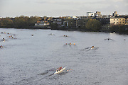London, Great Britain,  GV at crews racing and marshaling on the Middlx bank, 2009 Veterans Fours of the River Race, raced over the Championship Course, Mortlake to Putney, on the River Thames.   Sunday, 15/11/2008. [Mandatory Credit: Karon Phillips/Intersport Images]