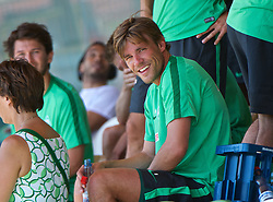 01.07.2015, Weserstadion, Bremen, GER, 1. FBL, SV Werder Bremen, Trainingsauftakt, im Bild Clemens Fritz (SV Werder Bremen #8) bei einer Pause während des Laktattests // during a Trainingssession of German Bundesliga Club SV Werder Bremen at the Weserstadion in Bremen, Germany on 2015/07/01. EXPA Pictures © 2015, PhotoCredit: EXPA/ Andreas Gumz<br /> <br /> *****ATTENTION - OUT of GER*****