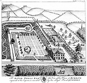 Estate of David Wells, Burbage, Leicestershire, England showing house and garden, model farm, enclosed fields, parkland & woodland. Copperplate engraving c1750