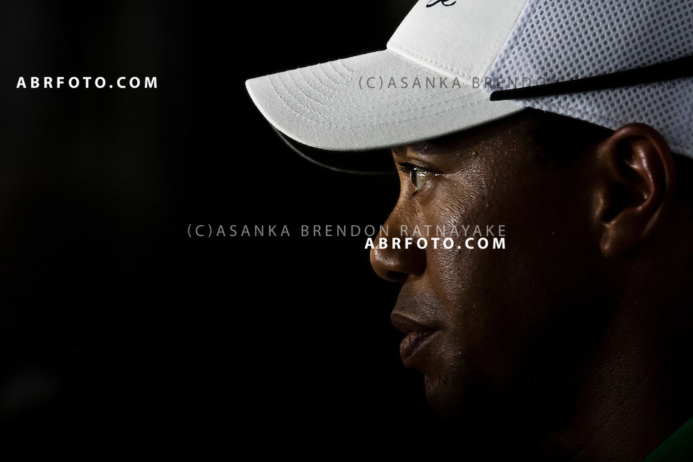 Tiger Woods addresses the Press during a press conference at the 2011 Presidents Cup held in Melbourne Australia