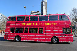 "© Licensed to London News Pictures. 29/03/2019. LONDON, UK.  Mayor of London, Sadiq Khan, launches a branded ""We are all Londoners"" bus (pictured) as a it begins a four-day ""advice roadshow"" across the capital.  Staff on the bus will visit locations with high numbers of European nationals, offering them guidance on how to apply for Settled Status to remain in the UK following Brexit.  The bus tour coincides with the opening of the Government's EU Settlement Scheme.  Photo credit: Stephen Chung/LNP"