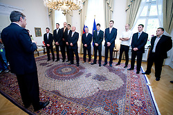 Slovenian basketball national team after Eurobasket 2009 at reception at president of Slovenia dr. Danilo Türk,  on September 28, 2009, in Presernova 8, Ljubljana, Slovenia.  (Photo by Vid Ponikvar / Sportida)