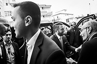 VILLAFRANCA TIRRENA, ITALY - 27 OCTOBER 2017: (R-L)Five Star Movement (Italian: Movimento 5 Stelle, or M5S) candidate Giancarlo Cancelleri, running for governor of Sicily in the upcoming Sicilan regional election, preceeded by Luigi Di Maio, Vice President of the Chamber of Deputies in the Italian Parliament, arrive here in Villafranca Tirrena, Italy, during his campaign on October 27th 2017. <br /> <br /> The Sicilian regional election for the renewal of the Sicilian Regional Assembly and the election of the President of Sicily will be held on 5th November 2017.