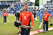 England Win - Alex Hales of England walks of the field after scoring 58 to chase down India's total during the International T20 match between England and India at the SWALEC Stadium, Cardiff, United Kingdom on 6 July 2018. Picture by Graham Hunt.