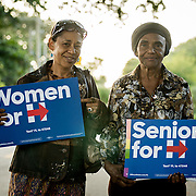 NORTH MIANI, FLORIDA, NOVEMBER 8, 2016<br /> Move On volunteers Lorna Shuford, right,  and her mother Delma Rodriguez  stop for a portrait  as they go knocking on doors of homes of voters in the North Miami area as they canvass for democratic votes.<br /> (Photo by Angel Valentin/Freelance)