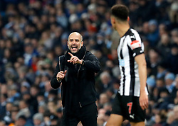 Manchester City manager Pep Guardiola gestures on the touchline during the Premier League match at the Etihad Stadium, Manchester.