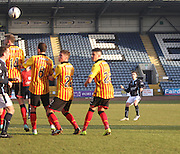 Alex Harris free kick which was spectacularly saved by Partick Thistle goalkeeper Scott Fox - Dundee v Partick Thistle, SPFL Premiership at Dens Park<br /> <br />  - &copy; David Young - www.davidyoungphoto.co.uk - email: davidyoungphoto@gmail.com