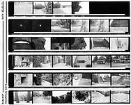 First contact sheet made in black and white darkroom. July 1991