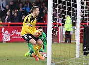 Sheffield United Marc McNulty  celebrates his penalty during the Sky Bet League 1 match between Crawley Town and Sheffield Utd at the Checkatrade.com Stadium, Crawley, England on 28 February 2015. Photo by Phil Duncan.