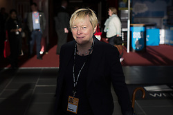 © Licensed to London News Pictures . 25/09/2016 . Liverpool , UK . ANGELA EAGLE leaves the conference hall at the ACC in Liverpool , at the end of the first day of the Labour Party Conference . Photo credit : Joel Goodman/LNP