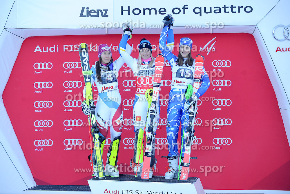 29.12.2015, Hochstein, Lienz, AUT, FIS Weltcup Ski Alpin, Lienz, Slalom, Damen, 2. Durchgang, im Bild v.l. Wendy Holdener (SUI, 2. Platz), Frida Hansdotter (SWE, 1. Platz) und Petra Vlhova (SVK, 3. Platz) // f.l. 2nd placed Wendy Holdener of Switzerland, Winner Frida Hansdotter of Sweden and 3rd placed Petra Vlhova of Slovakia during award ceremony after ladies Slalom of the Lienz FIS Ski Alpine World Cup at the Hochstein in Lienz, Austria on 2015/12/29. EXPA Pictures © 2015, PhotoCredit: EXPA/ Erich Spiess