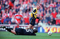 Fredrik Ljungberg is tripped by Middlesbrough goalkeeper Mark Crossley for the Arsenal penalty. Middlesbrough 0:1 Arsenal. F.A.Carling Premiership, 4/11/2000. Credit Colorsport / Stuart MacFarlane.