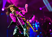 Aerosmith lead singer Steven Tyler gives his all during a song as the band performs at the MGM Grand Garden Arena on Saturday, August 1, 2015.  L.E. Baskow