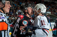 KELOWNA, CANADA - SEPTEMBER 24: Kole Lind #16 of the Kelowna Rockets gets in the face of Erik Miller #19 of the Kamloops Blazers during third period on September 24, 2016 at Prospera Place in Kelowna, British Columbia, Canada.  (Photo by Marissa Baecker/Shoot the Breeze)  *** Local Caption *** Kole Lind; Erik Miller;