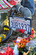 Dec. 1, 2013 - CA, USA -<br /> <br /> Paul Walker Crash Site Becomes Memorial<br /> <br /> A license plate at a memorial for Paul Walker and Roger Rodas, Sunday, December 1, 2013, at the scene of their fatal crash site on Hercules Street near Kelly Johnson Parkway in Valencia. <br /> ©exclusivepix