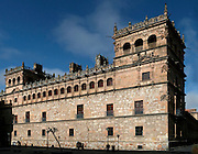 """Low angle view of Monterrey Palace, Salamanca, Spain, pictured on December 19, 2010 in the afternoon. The imposing 16th century Renaissance Palace was built for the Count of Monterrey and is now the residence of the Dukes of Alba. Salamanca, an important Spanish University city, is known as La Ciudad Dorada (""""The golden city"""") because of the unique golden colour of its Renaissance sandstone buildings. Founded in 1218 its University is still one of the most important in Spain. Around it the Old Town is a UNESCO World Heritage Site. Picture by Manuel Cohen"""