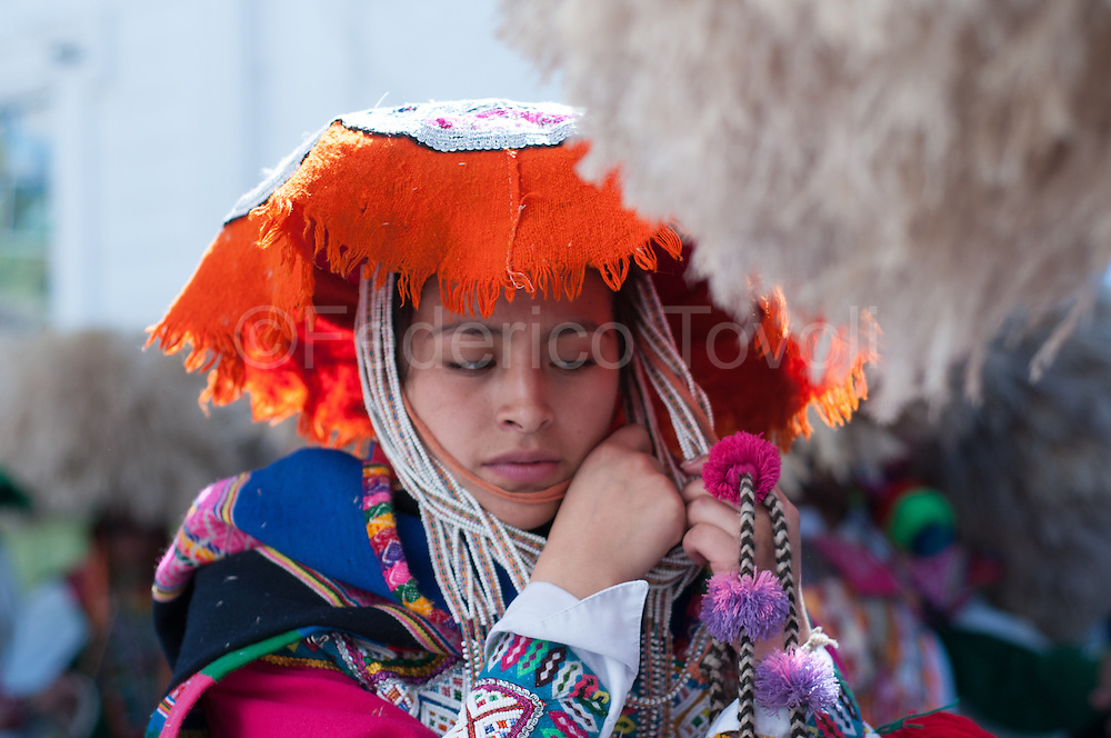 Feast of Corpus Christi. College students waiting to dance in the square with the costume from Paucartambo, Ccatca and Quispicanchi area / PERU