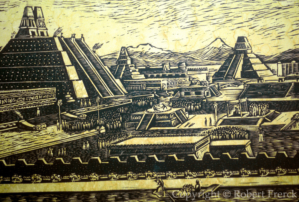MEXICO, MUSEUM OF MEXICO CITY Woodcut showing main temple complex of the Aztec capital of Tenochtitlan with the Sun temple left