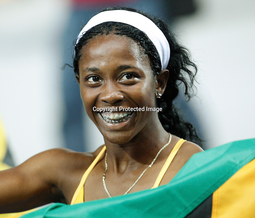 12th IAAF World Championships in Athletics Berlin 2009<br />Shelly-Ann Fraser of Jamaica celebrates after winning the women's 100 metres final during the world athletics championships at the Olympic stadium, Berlin, Germany, 17 August 2009. Photo: Piotr Hawalej / WROFOTO / PHOTOSPORT