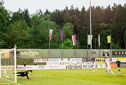 Matic Cretnik #1 of NK Rudar Velenje vs Rok Kronaveter #7 of NK Olimpija Ljubljana at penalty shot during football match between NK Rudar and NK Olimpija Ljubljana in Round #35 of Prva liga Telekom Slovenije 2015/16, on May 14, 2016, in Stadium Ob jezeru, Velenje, Slovenia. NK Olimpija with this victory became Slovenian National Champion 2016. Photo by Vid Ponikvar / Sportida