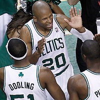 03 June 2012: Boston Celtics small forward Mickael Pietrus (28) is congratulated by Boston Celtics shooting guard Ray Allen (20) at the end of the Boston Celtics 93-91 overtime victory over the Miami Heat, in Game 4 of the Eastern Conference Finals playoff series, at the TD Banknorth Garden, Boston, Massachusetts, USA.
