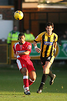 Photo: Pete Lorence.<br />Boston United v Swindon Town. Coca Cola League 2. 20/01/2007.<br />Jerel Ifil slams the ball up the field, past Drewe Broughton