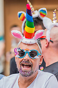 The annual London Gay Pride march heads from Oxford Circus to Trafalgar Square.