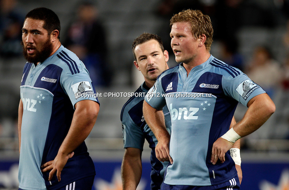 Blues players Charlie Faumuina, Alny Mathewson and Daniel Braid during the Super Rugby game between The Blues and The Sharks at Eden Park, Auckland New Zealand, Friday 13 April 2012. Photo: Simon Watts / photosport.co.nz