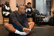 LAS VEGAS, NV - JULY 9:  Daniel Cormier stretches in his locker room before UFC 200 at T-Mobile Arena on July 9, 2016 in Las Vegas, Nevada. (Photo by Cooper Neill/Zuffa LLC/Zuffa LLC via Getty Images) *** Local Caption *** Daniel Cormier
