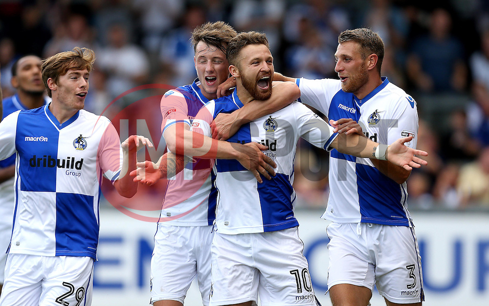 Matt Taylor of Bristol Rovers celebrates with teammates after scoring his sides second goal against Oxford United - Mandatory by-line: Robbie Stephenson/JMP - 14/08/2016 - FOOTBALL - Memorial Stadium - Bristol, England - Bristol Rovers v Oxford United - Sky Bet League One