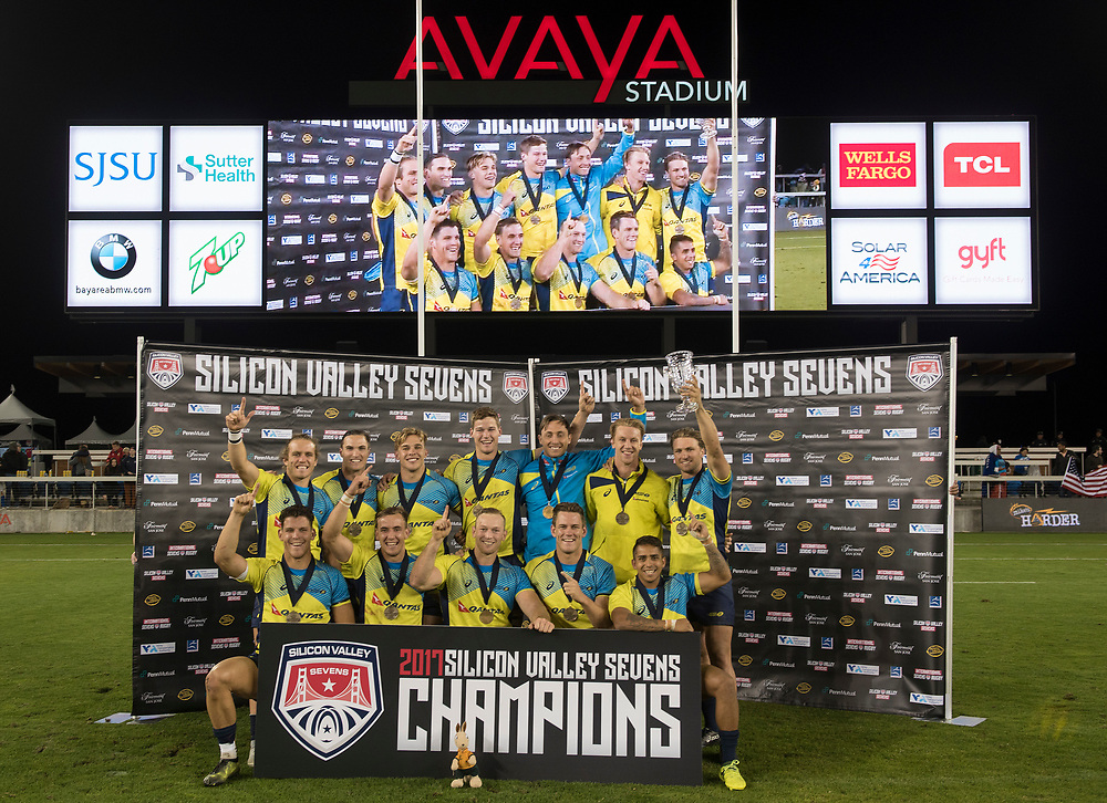 Australia lift the cup after beating the United States 15-12 in the final of the Silicon Valley Sevens in San Jose, California. November 4, 2017. <br /> <br /> By Jack Megaw.<br /> <br /> <br /> <br /> www.jackmegaw.com<br /> <br /> jack@jackmegaw.com<br /> @jackmegawphoto<br /> [US] +1 610.764.3094<br /> [UK] +44 07481 764811