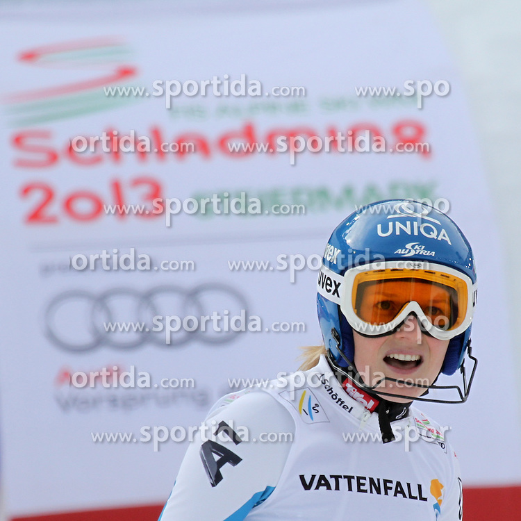 16.02.2013, Planai, Schladming, AUT, FIS Weltmeisterschaften Ski Alpin, Slalom, Damen, 2. Durchgang, im Bild Marlies Schild (AUT) // Marlies Schild of Austria reacts after womens Slalom at the FIS Ski World Championships 2013 at the Planai Course, Schladming, Austria on 2013/02/16. EXPA Pictures © 2013, PhotoCredit: EXPA/ Martin Huber