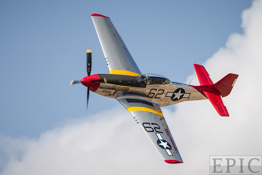 RENO, NV - SEPTEMBER 15: #62 Tom Nightingale races in his P-51D during an unlimited class heat at the Reno Championship Air Races on September 15, 2017 in Reno, Nevada. (Photo by Jonathan Devich/Getty Images) *** Local Caption *** Tom Nightingale