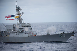 180804-N-GD109-0597 PACIFIC OCEAN (Aug. 4, 2018) The Arleigh Burke-class guided-missile destroyer USS Dewey (DDG 105) conducts a live-fire exercise as part of a sea power demonstration with the Nimitz-class aircraft carrier USS Carl Vinson (CVN 70). (U.S. Navy photo by Mass Communication Specialist 2nd Class Z.A. Landers)180804-N-GD109-0597