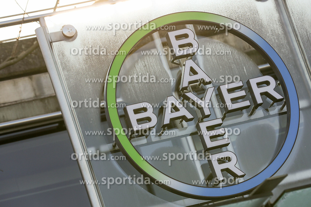 26.02.2015, Bayer-Kommunikationszentrum, Leverkusen, GER, Bilanzpressekonferenz Bayer AG, Ergebnisse des Gesch&auml;ftsjahres 2014, im Bild Bayer Logo // during a Annual Press Conference Bayer AG at the Bayer-Kommunikationszentrum in Leverkusen, Germany on 2015/02/26. EXPA Pictures &copy; 2015, PhotoCredit: EXPA/ Eibner-Pressefoto/ Schueler<br /> <br /> *****ATTENTION - OUT of GER*****