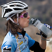 Christine Jerko atop Palomar Mountain. United Finance (formerly Finnegan's Toys / Discover Chiropractic) Cycling Team winter training camp, January 30 to February 5, 2010; Palm Springs, California.  Emerald Velo Cycling Club (EVCC).