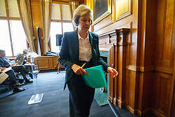 © Licensed to London News Pictures. 25/04/2016. London, UK. Home Secretary THERESA MAY leaving after giving a speech on EU referendum, security implications and immigration concerns in central London on Monday, 25 April 2016. Photo credit: Tolga Akmen/LNP