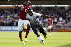 Junior Morias of Peterborough United battles with Leon Barnett of Northampton Town - Mandatory by-line: Joe Dent/JMP - 26/08/2017 - FOOTBALL - Sixfields Stadium - Northampton, England - Northampton Town v Peterborough United - Sky Bet League One