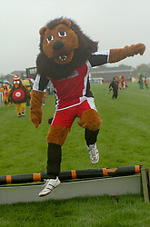 KETTERING TOWN FC MASCOT CHAMP THE LION, CLEARS THE HURDLES, John Smiths Mascot Grand National, Huntingdon Racecourse Sunday 5th October 2008
