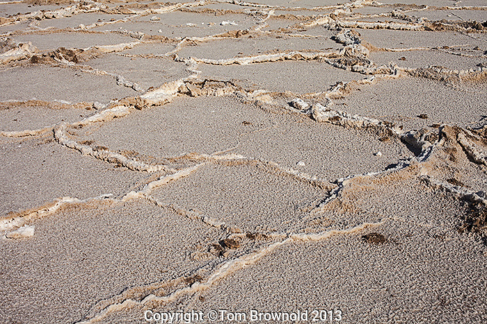 Salt percipitate in the Armagosa River bed at Bad water in Death Valley, Cal.