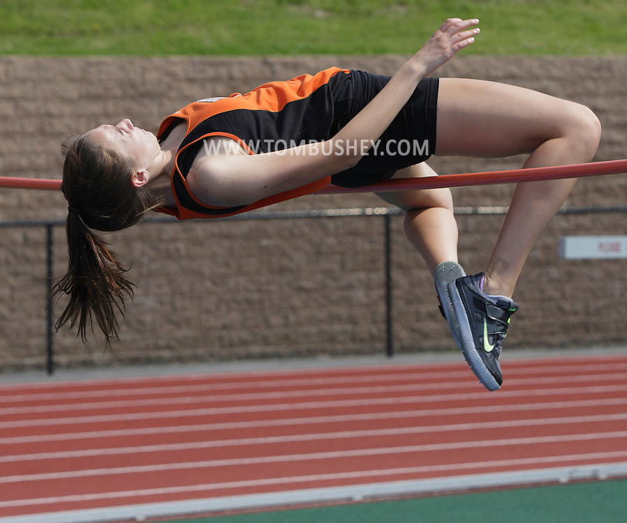 Marlboro's Hannah Baker clears the bar in the high jump during the Section 9 track and field state qualifier in Middletown on Friday, May 31, 2013.