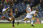 Lloyd Williams scores try during the Guinness Pro 14 2018_19 match between Edinburgh Rugby and Cardiff Blues at Murrayfield Stadium, Edinburgh, Scotland on 23 February 2019.