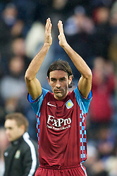 BLACKBURN, ENGLAND - Sunday, November 21, 2010: Aston Villa's Robert Pires applauds the travelling supporters after making his debut during the 2-0 Premiership defeat against Blackburn Rovers at Ewood Park. (Photo by David Rawcliffe/Propaganda)
