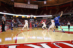 26 January 2016: Ore Arogundade(23) works the perimeter looking for a pass inside while guarded by Justin McCloud(15) during the Illinois State Redbirds v Drake Bulldogs at Redbird Arena in Normal Illinois (Photo by Alan Look)