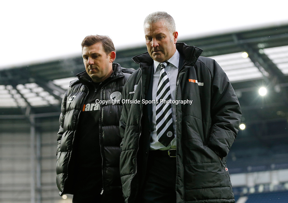3rd January 2015 - FA Cup 3rd Round - West Bromwich Albion v Gateshead - Gateshead manager Gary Mills (R) on the West Bromwich Albion pitch prior to kick off - Photo: Paul Roberts / Offside.